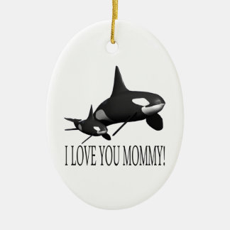 I Love You Mommy Double-Sided Oval Ceramic Christmas Ornament