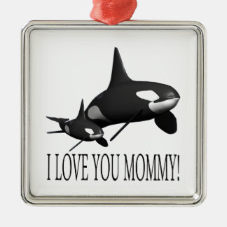 I Love You Mommy Square Metal Christmas Ornament