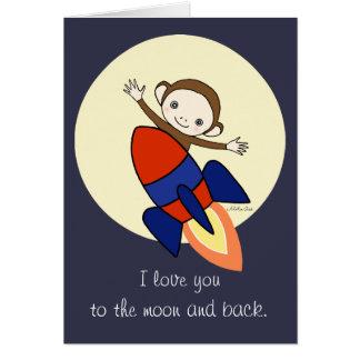 I love you moon and back Cute Monkey Love Card