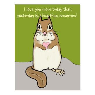 I Love You More....Chipmunk Postcard