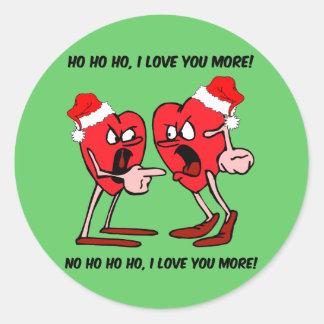 I love you more Christmas Classic Round Sticker
