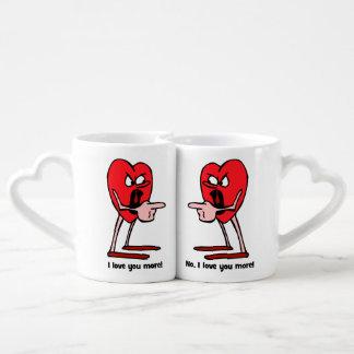 I love you more coffee mug set