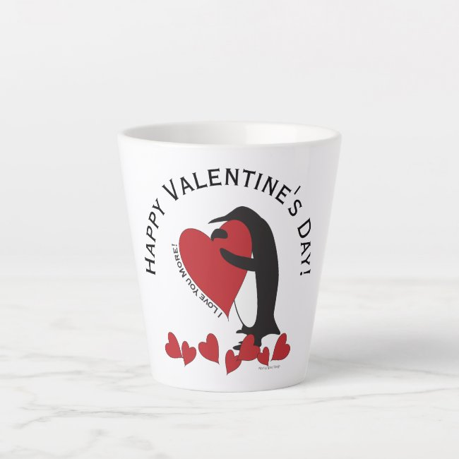 I Love You More! - Cute Penguin and Red Hearts