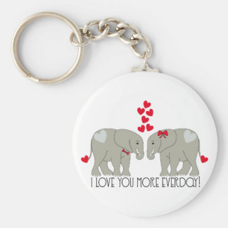 I Love You More Everday! Basic Round Button Keychain