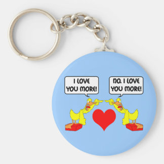 I love you more basic round button keychain