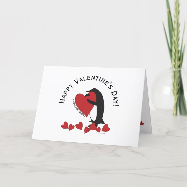I Love You More! - Penguin and Red Hearts Modern