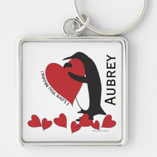 I Love You More! - Penguin Red Hearts Personalized Keychain