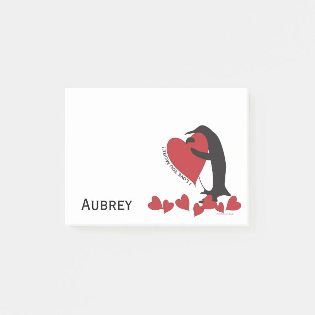 I Love You More! - Penguin Red Hearts Personalized