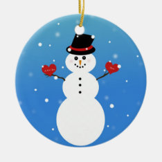 I Love You More Snowman Ceramic Ornament at Zazzle