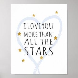 I love you more than all the stars - Art Print