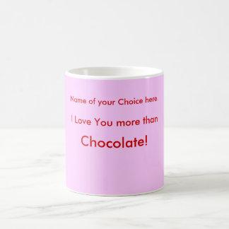 I Love You more than  Chocolate! Pink Mug .