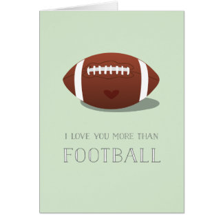 i love you more than football valentine card