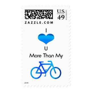 I Love You More Than My Bike in Blue Postage Stamps