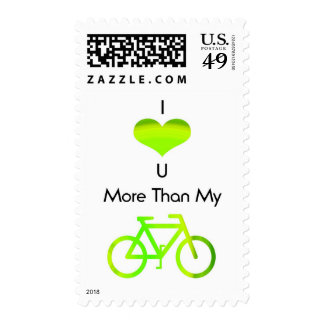 I love you more than my bike in green postage stamp