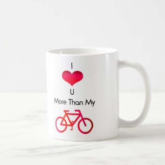 I love you more than my bike in white and red mugs