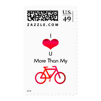 I love you more than my bike in white and red stamps