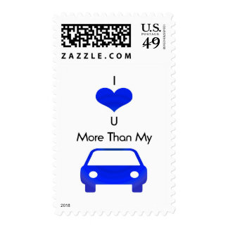 I love you more than my car in Blue by Mobo Stamp