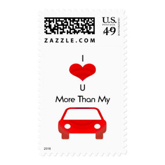 I love you more than my car in red by mobo postage stamp