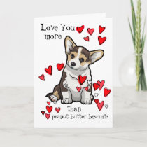 I Love You more than Peanut Butter Corgi Valentine Card
