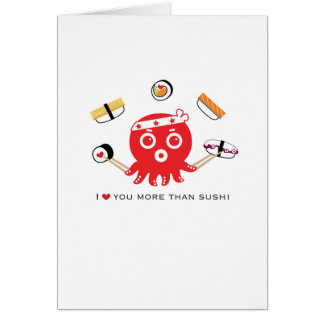 "I love you more than sushi- 5x7"" love card"