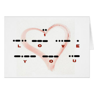 I LOVE YOU - Morse Code & Letters Card