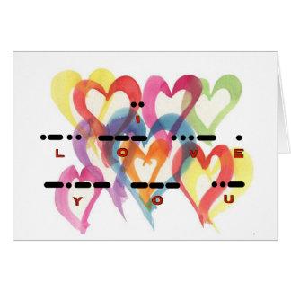 I Love You Morse Code Multi-Hearts Card