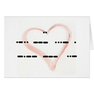 I Love You Morse Code with Watercolor Heart Card