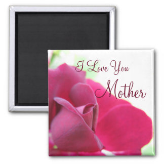 I Love You Mother Soft Pink Rose Mother's Day 2 Inch Square Magnet