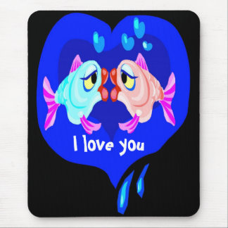 I love you mousrpad, with fish mouse pad
