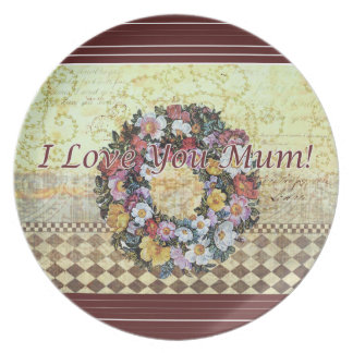 """I love you Mum"" Melamine Plate"