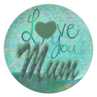 I Love you mum ornate text design plates