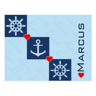 """I love you"" nautical Postcard"
