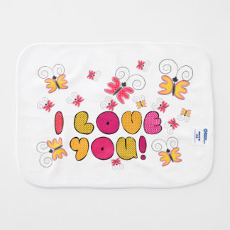 """""""I love you"""" note, best gift ideas Baby Burp Cloth"""