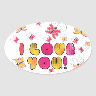 """""""I love you"""" note, best gift ideas Oval Sticker"""