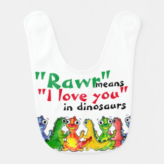 """I love you"" note with cute baby dinosaurs Baby Bib"