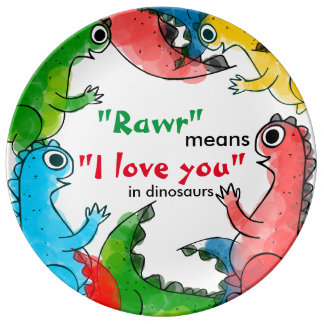 """""""I love you"""" note with cute baby dinosaurs Plate"""