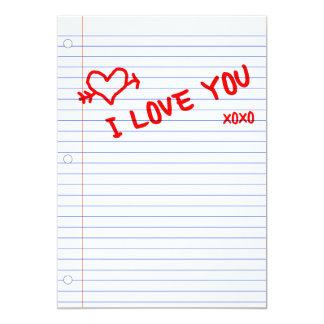 i love you : notebook paper card