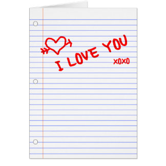 i love you : notebook paper greeting cards