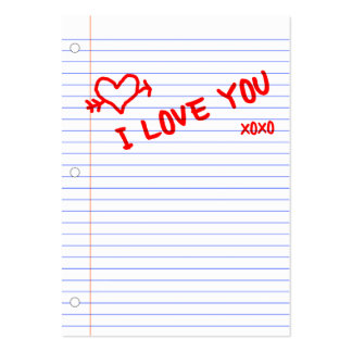 i love you : notebook paper large business card
