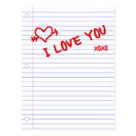 i love you : notebook paper postcard