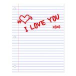 i love you : notebook paper postcards