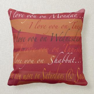 I LOVE YOU ON SHABBAT Cool Modern Throw Pillow