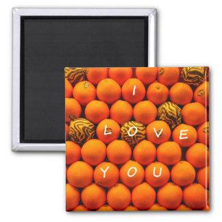 I Love You Oranges 2 Inch Square Magnet