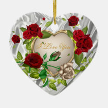 heart, ornament, love, romance, gold, silver.wedding, marriage, anniversary, red, flowers, roses, Ornament with custom graphic design