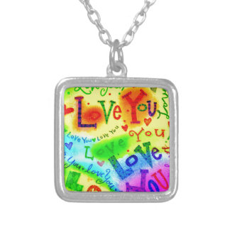 I LOVE YOU Painting Silver Plated Necklace