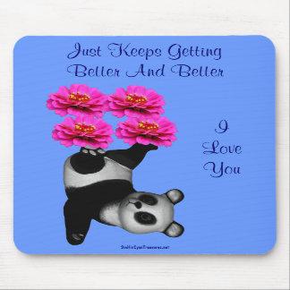 I Love You Panda Bear Flower Photo Mousepad