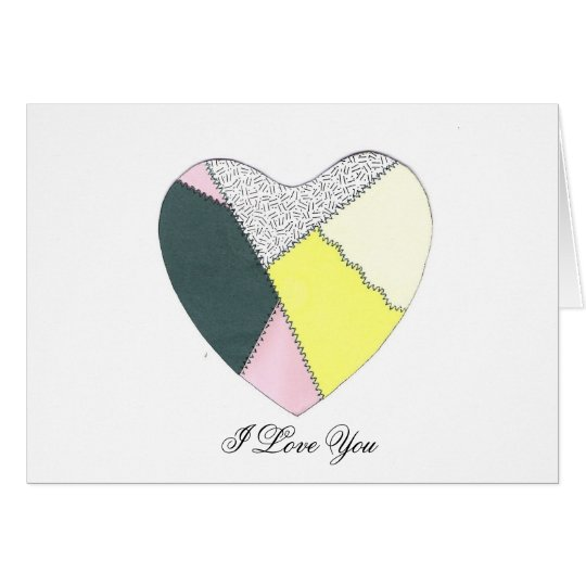 I Love You Patchwork Heart Card