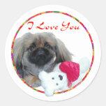 I Love You Pekingese Pup Classic Round Sticker