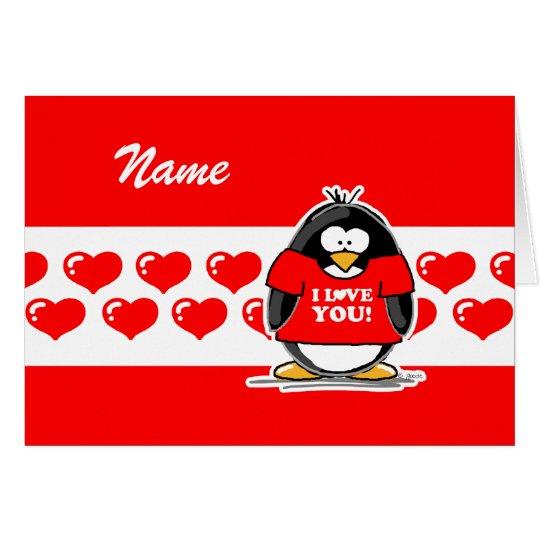 I Love You Penguin Card