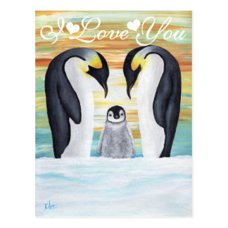 I Love You Penguin Family with Baby Penguin Postcard